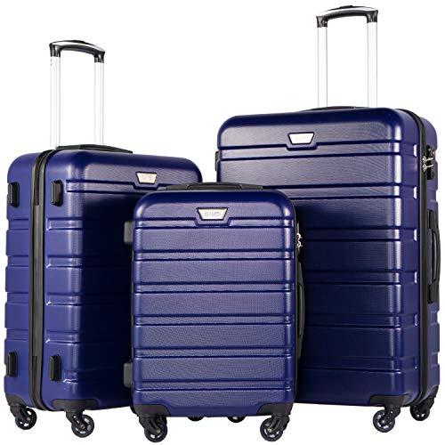 COOLIFE Hartschalen-Koffer Trolley Rollkoffer Reisekoffer mit TSA-Schloss und 4 Rollen(Blau, Koffer-Set)