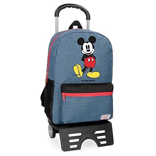 Disney Mickey Blue Zaino con Carrello Azzurro 32x42x16 cms Poliestere 21.5L