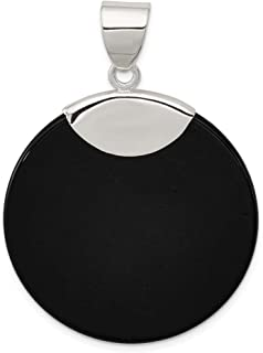 925 Sterling Silver Round Black Onyx Pendant Charm Necklace Natural Stone Fine Jewelry Gifts For Women For Her