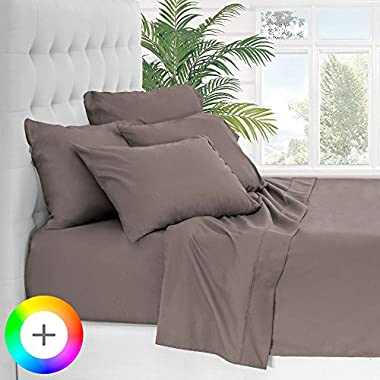 Bare Home 6 Piece 1800 Collection Deep Pocket Bed Sheet Set - Ultra-Soft Hypoallergenic - 2 EXTRA PILLOW CASES (King, Taupe)