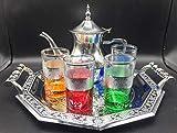 Juego de té marroquí Completo, Tetera con Filtro Integrado 1.2ml + Bandeja 34cm plateada hexagonal con asas - 4 Vasos de cristal + + cuchara de madera para el te de 8cm