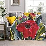 Manta de lana de cordero Tulip Garden para sofá, cama, hombres, mujeres y bebés