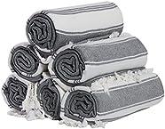 (Set of 6) 100% Turkish Cotton Bath Beach Hammam Peshtemal Towel Throw Fouta Blanket Set XL Prewashed (Navy)