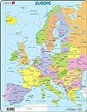Larsen A8 Carte Politique de l'europe pour Les Jeunes Enfants, édition Français, Puzzle Cadre avec de 37 pièces