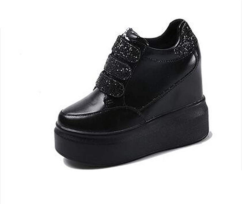 Gedigits Woman Platform Wedges Sequins shoes Female Hidden Heel Height Increasing Casual shoes Black 6 M US