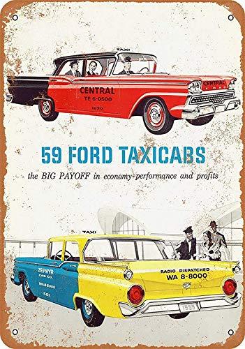 Taxi Cabs metalen teken, poster, wandbord, blikken bord, vintage, waarschuwingsbord, retro, plaatstaal, decoratieve bar, pub, café