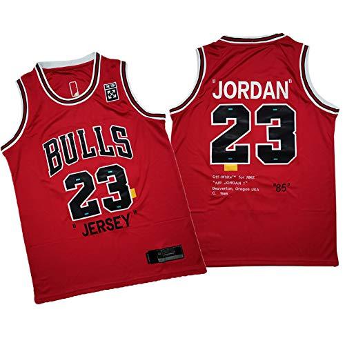 QPY Jordan 23# Jersey Baloncesto para Hombres Bulls Classic 85 años Edición Ropa de Entrenamiento (S-2XL) Vino Rojo XXL