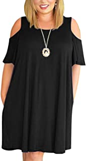 Women's Cold Shoulder Plus Size Casual T-Shirt Swing Dress with Pockets