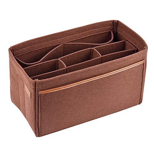 Organizzatore di feltro per donne (con borsa rimovibile), Bag in Bag Organizer Borsa in borsa,Tote Organize su misura, Borsa di pannolini per LV Speedy Neverfull Longchamp Tote (Marrone, Small)