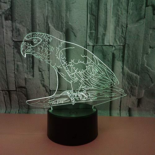 Neue Papagei 3d Nachtlampe Sieben Farben Touch Control LED 3D Tischlampen USB 7 Farbwechsel Schreibtischlampe