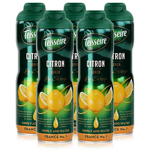 Teisseire Getränke-Sirup Lemon/Zitrone 600ml - Sirup der genauso schmeckt wie die Frucht (5er Pack)