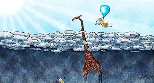 Jkykpp giraffen-ballon om te knutselen digitale olieverfschilderij olieverfschilderij wanddecoratie voor het kleuren van foto's op oliebasis, 40 x 50 cm