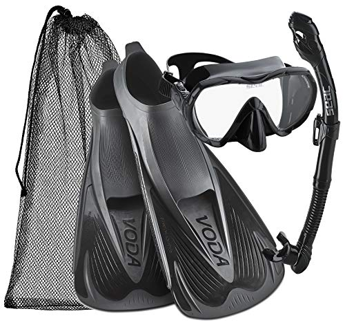 Phantom Aquatics Voda Full Foot Fin Mask Snorkel Set (Made in Italy) (Black, Men's US 8-9, EU 42-43)