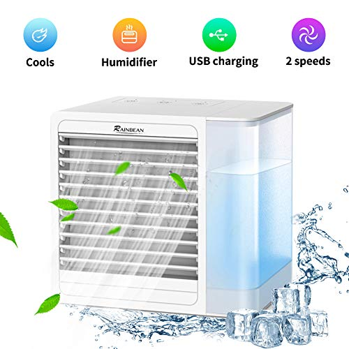 professional RAINBEAN portable air conditioner fan, USB charger for personal evaporative cooler, quiet mini …