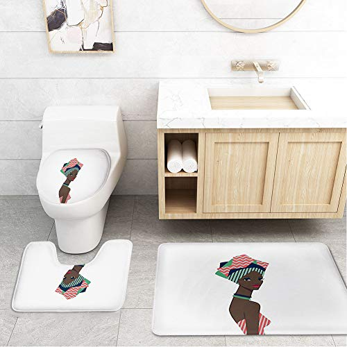Beautiful African Woman Traditional Cartoon Foreign Skin Hat Headdress Striped Clothing Figure Trend Material Black Moroccan Green,Toilet Bathroom Mats Lid Sets Rugs 3-Piece