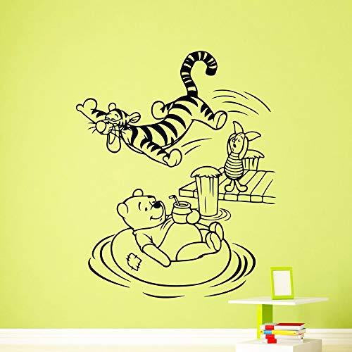 yaoxingfu Personalisierte Winnie The Vinyl wasserdichte Wandkunst Aufkleber abnehmbare Vinyl Wandbild Tapete für Kinderzimmer Home D schwarz XL 57 cm X 70 cm