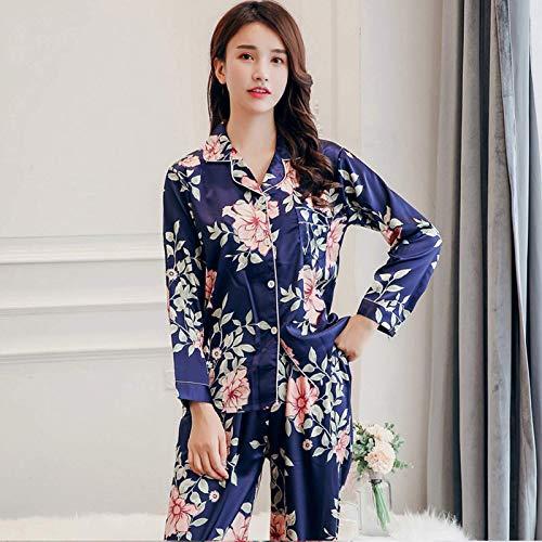 Set de Pijama de Seda para Mujeres, 2pcs Damas Mangas largas Suaves Florales con Estampado Floral para niñas satinados Camas de Dormir cómodas Pantalones Largos para Todas Las Estaciones, Rosa, XXXL