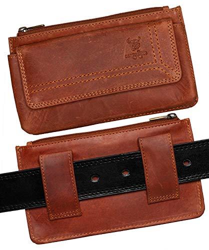 MATADOR Quertasche Universal Leder Handy-Tasche Gürteltasche Horizontal Klettverschluss für Smartphone bis 6,1 Zoll inkl. Geschenk-Box (Antik Braun)