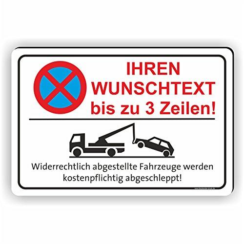 Fassbender-Druck SCHILDER - TEXT NACH WUNSCH Quer - Ihr personalisiertes Parken verboten Schild - Schild zum Markieren vom absoluten Parkverbot - WUNSCHTEXTSCHILD (30x20cm Schild)