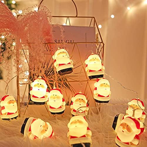 N\C Cabeza de Papá Noel Cadena de luz Cabeza de muñeco de Nieve Caja de batería Navidad Árbol de Navidad Ambiente Decoración Luz