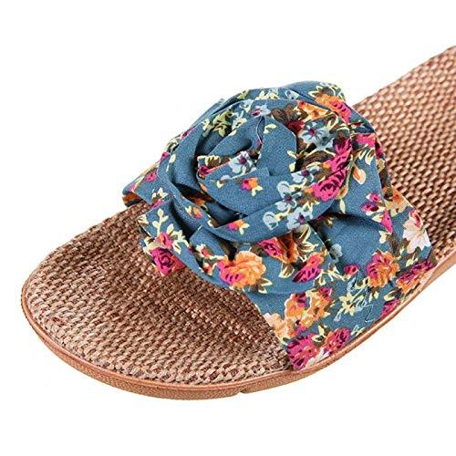 Xx101 Zapatillas De Baño Caliente De La Venta del Verano De Interior Zapatos De Las Señoras De Casas De Cáñamo Sandalias Zapatos De La Flor Mujeres Nixx0 (Color : Blue, Size : 39)
