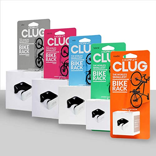 CLUG Bike Clip Indoor-Outdoor Bicycle Rack Storage System, White/Orange, Mountain (43-62mm)