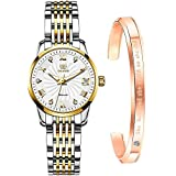 Women Watch Automatic Self Winding Luxury Watches for Womens Solid Stainless Steel Luminous Waterproof Ladies Bracelet Wrist Watch Gift (T:White dial & Two Tone Bracelet)