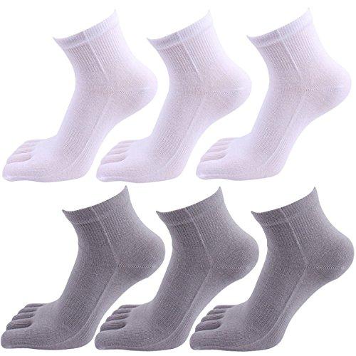 Panegy – Lot de 6 Paires Chaussettes Pour Homme – Chaussettes 100% Coton de Sport – Doigts de Pied séparés - Uni – respiration et désodorisant - 02
