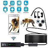 Lychee WiFi Endoscopio Wireless Cámara de Inspección, Impermeable IP68,8 LED de Brillo Ajustable,2.0 Megapíxeles Full HD 1200P Cámara para Android y iOS / (10M)