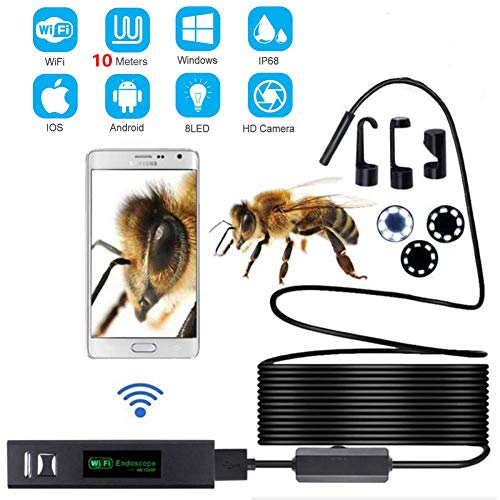 Lychee WiFi Endoscopio Wireless Impermeabile IP68 Telecamera Ispezione, 8 LED Luminosità Regolabile, 2.0 Megapixel 1200P HD Full Snake Camera per Android e iOS iPhone/Windows/Mac/PC (10M)