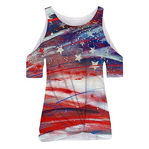 T-Shirt Tops Bluse Frauen Mode Tie-Dye Farbverlauf Farbe O-Ausschnitt Kurzarm (L,4rot)