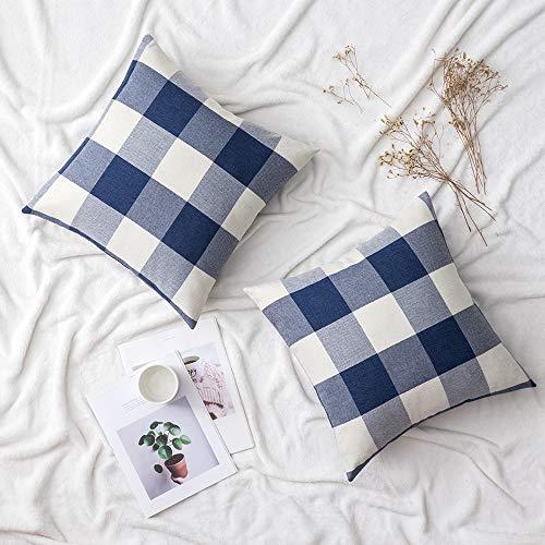 Woaboy Juego de 2 fundas de almohada decorativas para sofá, dormitorio, coche, 50 x 50 cm, color azul marino y blanco