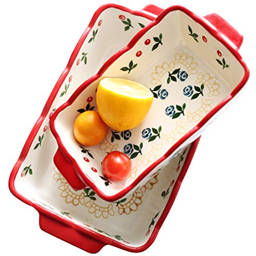 Porcelain Rectangle Baking Dish Set of two, Floral Pizza Pie Cheese Serving Bakeware Oven Household Tableware(Baking dish set of two) (Red- Cherry)