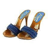 Kiara Shoes Denim high Heel Clogs Heel 12 - KM7101 Denim (7 US, Denim)