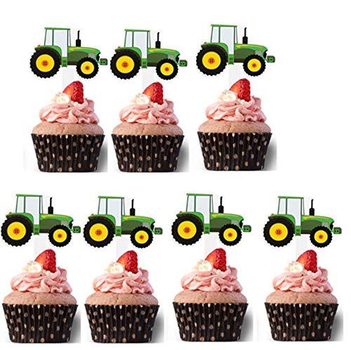 Engineering Vehicle Cake Cupcake Topper 28Pcs/Set, Birthday Twinkle DIY Glitter First Birthday Cupcake Topper Cake Smash Candle Alternative Party Handmade