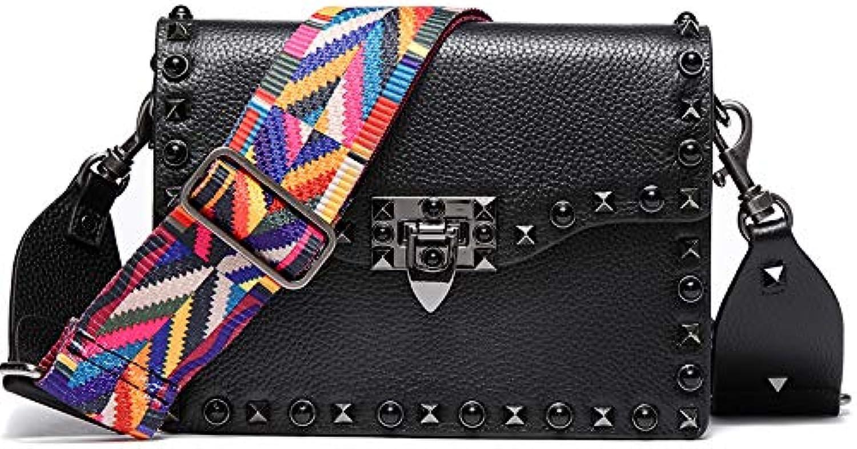 AI BAO Ladies Diagonal Shoulder Bag Wide Shoulder Strap Leather Studs Package Dating Shopping Bag