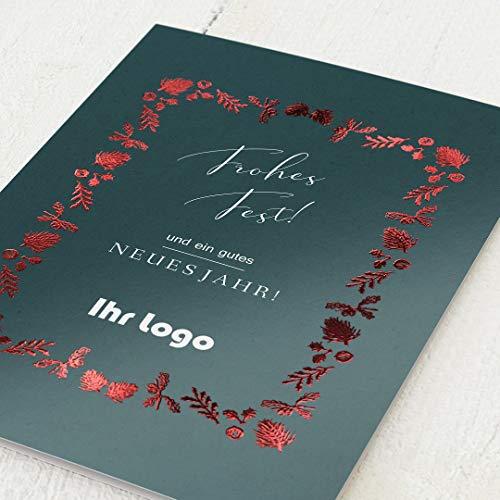 sendmoments Firmen-Weihnachtskarten im Set mit Veredelung in Rot, Schönes Fest, personalisiert mit Ihrem Firmenlogo & -Text, 12 Klappkarten, optional mit bedruckten Design-Umschlägen