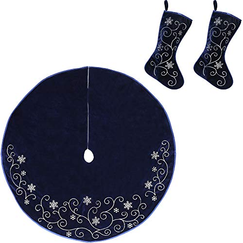 New Traditions Simplify Your Holiday Velvet Christmas Decor with Embroidered Sequin Taffeta Piping and Snowflakes (2 Stockings 1 Tree Skirt)