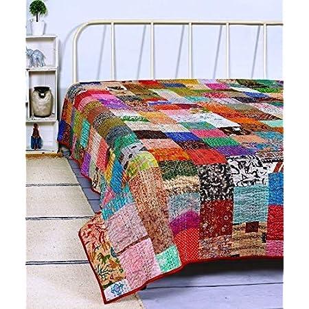 Indian Multi Color Floral Cotton Vintage Handmade Designer Gudari Block Print Handstitch Kantha Quilt Bed Cover Bedspread Blanket Home Decor