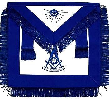 Regalia Lodge Masonic Past Master Apron Blue with Fringe  Lambskin