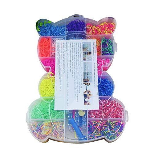 LANCHEN - Caja de Inicio de Bandas de Telar de Goma elástica de Colores con Tejido de Pulsera de Ganchillo