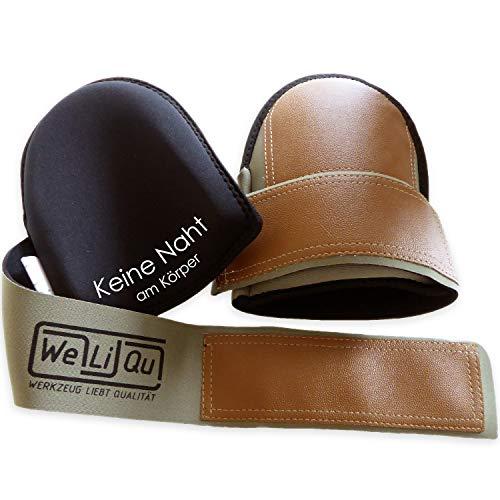 WeLiQu® Knieschoner mit Kunstleder, besonders bequem, schonend zum Bodenbelag im Haushalt, abwaschbar, für Handwerk, DIY und Garten