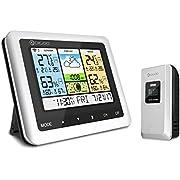 Station météo sans Fil, DIGOO DG-TH8888 thermomètre à Grand écran LCD Couleur capteur Externe sans Fil, humidité intérieure/extérieure Mode Veille Alarme