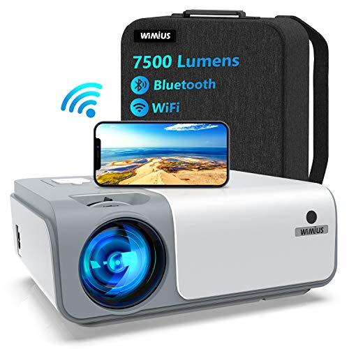 5G WiFi Videoprojecteur Full HD Bluetooth-WiMiUS W1,7500LM Retroprojecteur 1080p Natif, Soutiens 4k,Correction Trapézoïdale 5D & Zoom-50%, Projecteur Portable WiFi pour Fête en Plein Air & Home Cinéma