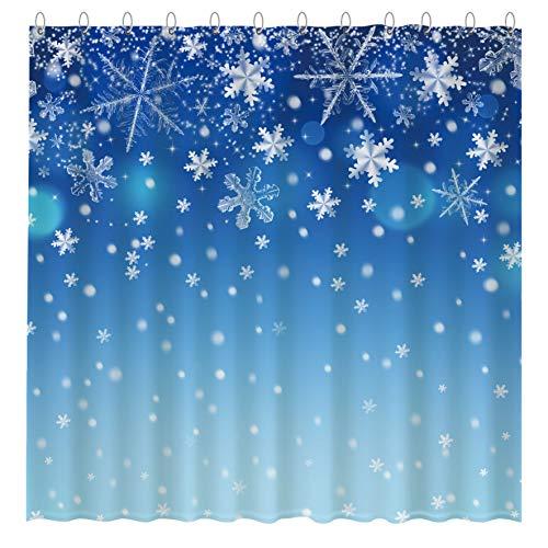 Funnytree Duschvorhang-Set mit 12 Haken, Schneeflocke, glitzernd, Weihnachtsdekoration, Badezimmer, Badewannen-Dekor, leicht zu pflegen, wasserdicht, waschbar, 182.9 x 182.9 cm, Blau