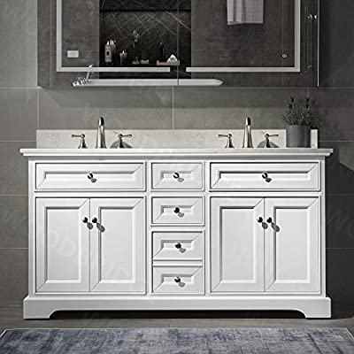 """London 60""""Bathroom Vanity with Engineered Quartz White Carrara Color top 8"""" faucet holes