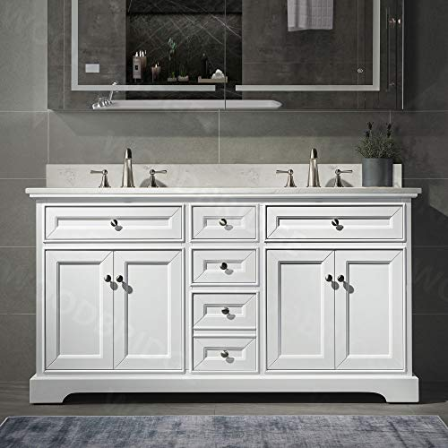 """London 60""""Bathroom Vanity with Engineered Quartz White Carrara Color top 8"""" faucet holes Double Rectangle Undermount Sinks 4 Soft Closing Doors and 3 full Extension Dovetail Drawers White Vanity Color"""