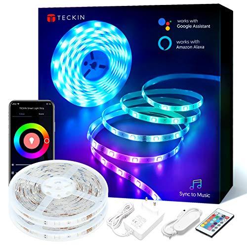 TECKIN 2 rollos 5m Tiras Led Rgb WiFi 5050 12V con 300 Leds, Compatible con Alexa, Google Home, App, Control Remoto de 24 Teclas para Decorativas para Navidad y Fiestas( no resistente al agua)