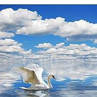 カスタム壁画 3D壁紙 白鳥カモメ青い空と白い雲の海 リビングルームテレビソファの家の装飾 -200x140cm/79x55inch