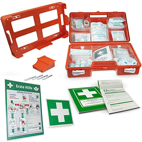Betriebsausstattung24® Erste-Hilfe-Koffer Komplettset für Betriebe nach DIN | Verbandskasten inkl. Inhalt, Hinweisschild, Sicherheitsaushang & Meldeblock | First AID Box (Small, Orange - DIN 13157)